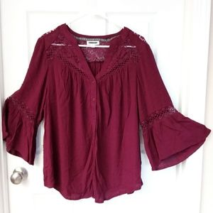 Lace Top Bell Sleeve Button Up Plus Size Blouse